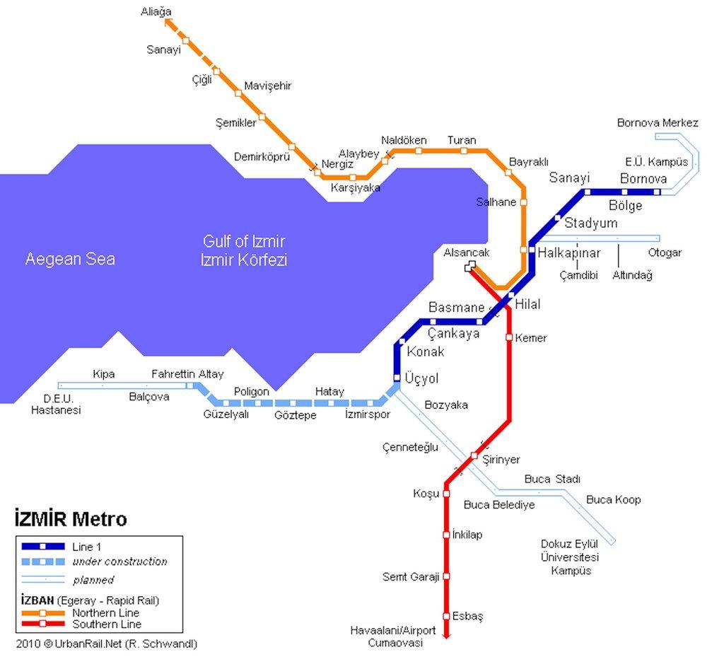 نقشه متروی ازمیر