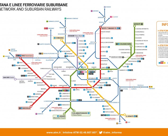 نقشه مترو شهر میلان ایتالیا