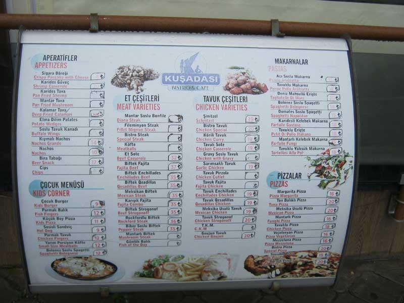 منوی یکی از رستوران های کوش آداسی
