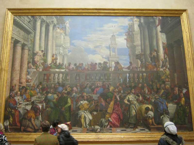 تابلوی بسیار معروف و بزرگ با نام  Wedding at Cana اثر پائولو ورونسه (نقاش مشهور ایتالیایی) در موزه لوور