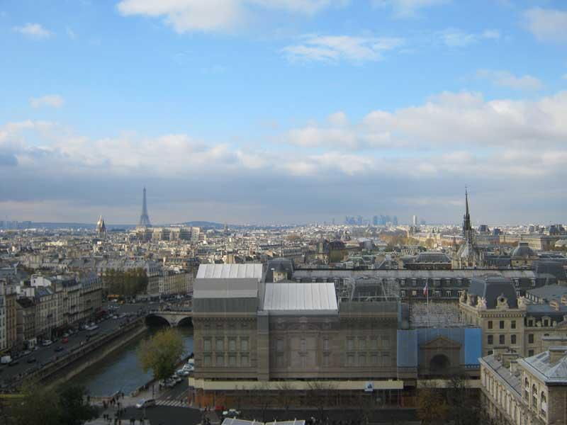 نمایی از شهر پاریس از بالای کلیسای نوتردام پاریس