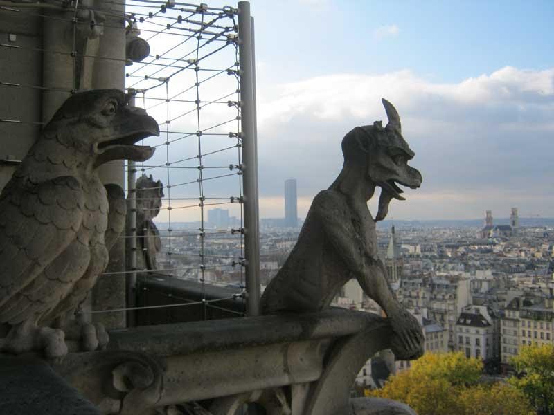 مجسمه حیوانات در بالای کلیسای نوتردام پاریس